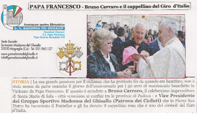 Il Ghisallo e il cappellino del Giro d'Italia da Papa Francesco